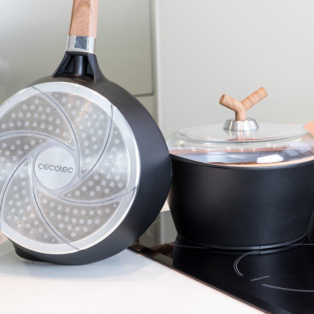 Batería de cocina de 19 piezas Premium Black Stone de Cecotec. Sartenes y ollas de alta gama. Revestimiento Ceramium. Aptas para todas las cocinas.