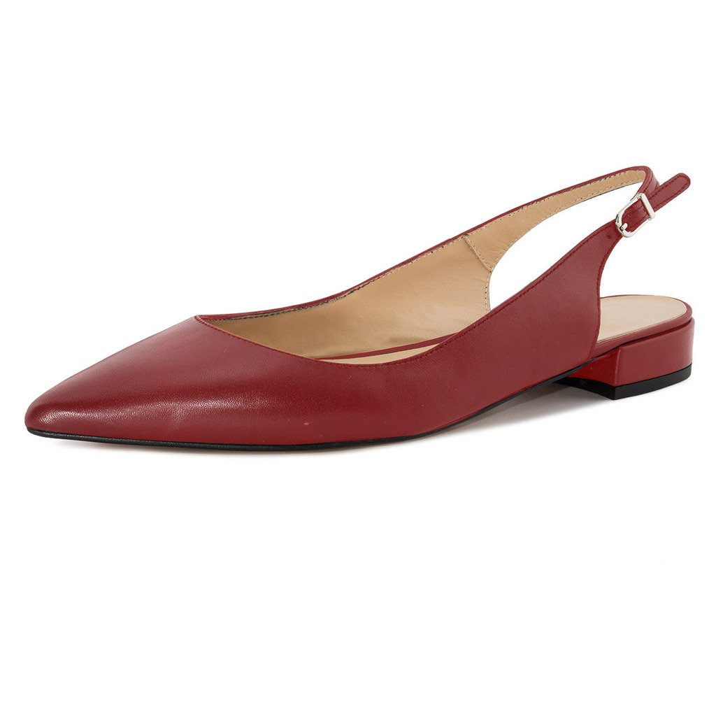 Eldof Women Low Heels Pumps | Pointed Toe Slingback Flat Pumps | 2cm Classic Elegante Court Shoes B07BQNM2MB 12.5 B(M) US|Wine