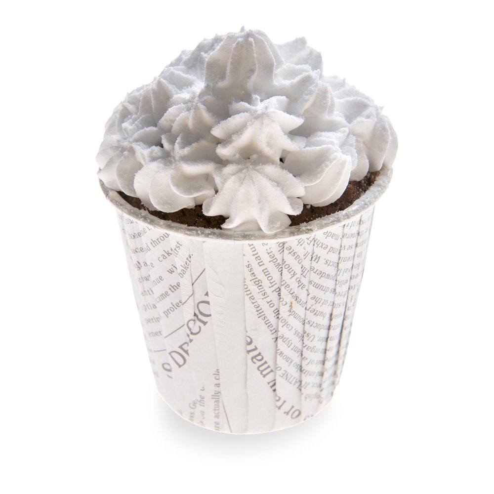 Panificio Premium 3.5-oz Baking Cups: Tall-Pleated Ridge Cups Perfect for Muffins, Cupcakes or Mini Snacks - Black and White Press Print Design - Disposable and Recyclable - 200-CT - Restaurantware by Restaurantware