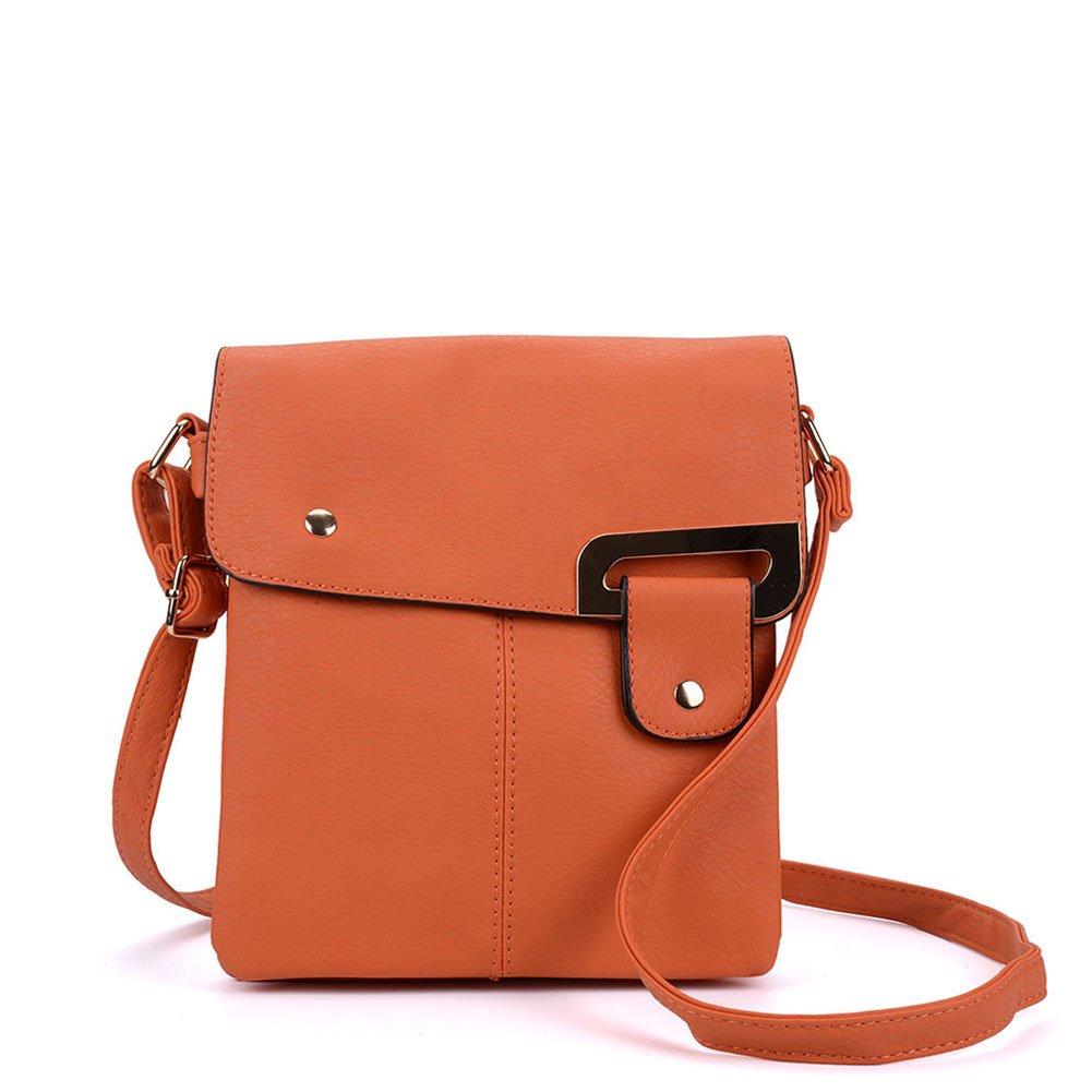 SALLY YOUNG Fashion Women Classic PU Leather Flap Cross Body Bags Messenger Bags (Orange)
