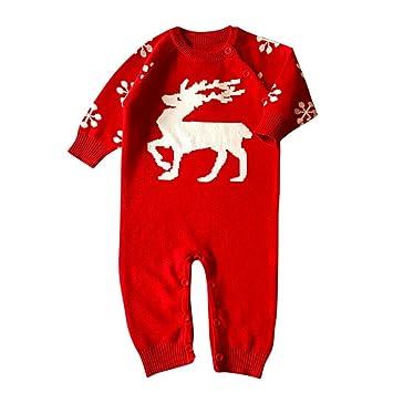 autumnfall Unisex Bebé Recién Nacido Niños Niñas Patrón de ciervos abrigo de manga larga de punto algodón Pelele suéteres de Navidad Set: Amazon.es: Oficina ...
