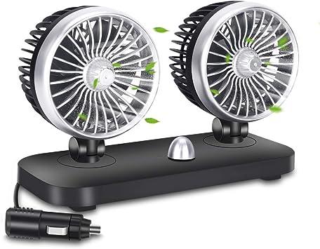Ventilador de Refrigeración para Coche 12V 2 Velocidad Ajustable Ventilador Coche Doble Cabeza Ruido Bajo para SUV Barco Vehículos: Amazon.es: Coche y moto