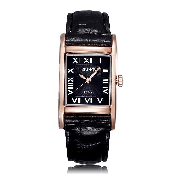 Las mujeres Skone de color negro con los números de los relojes de cuarzo banda de cuero de oro de Roma caja rectangular con esfera negra 505804: Amazon.es: ...