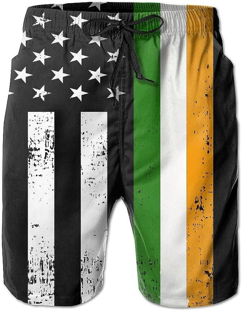 TO-JP 3D Printing Beach Shorts Irish American Flag Shamrock Swim Trunks