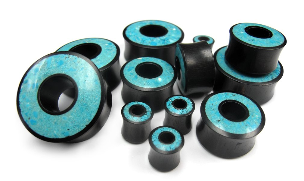 Pair of 1 & 3/16'' Inch Gauge (30mm) Crushed Turquoise Stone Inlay Tunnel Wood Plugs