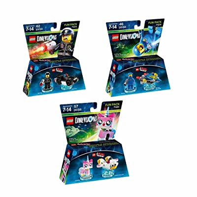 Lego Dimensions The Lego Movie Fun Pack Bundle of 3 - Unikitty Fun Pack (71231), Benny Fun Pack (71214) & Bad Cop Pack (71213): Video Games