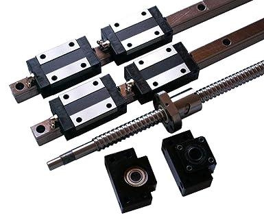 ballscrew RM1605-400mm+BK//BF12 end bearing HSR20-400mm Linear Guideway 2 Rail