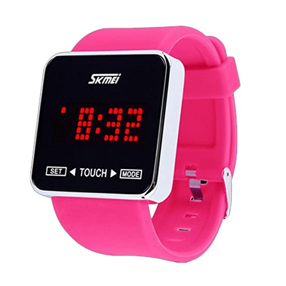 Skmei Touch Protector de silicona banda de goma digital LED Deporte Casual muñeca relojes rosa rojo: Amazon.es: Relojes