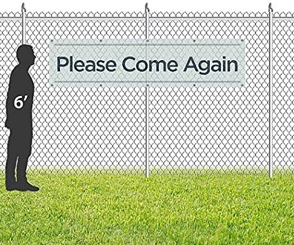 Basic Teal Wind-Resistant Outdoor Mesh Vinyl Banner Please Come Again 16x4 CGSignLab