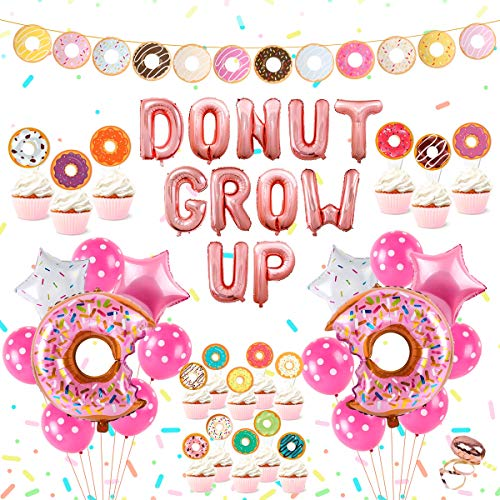 Up Themed Party (Donut Birthday Party Supplies Kit - Donut Grow Up Party Decorations, Donut Grow Up, Star and Donut Foil Balloon, Latex Balloon, Donut Cake Topper and Donut Garland Banner for Girls)