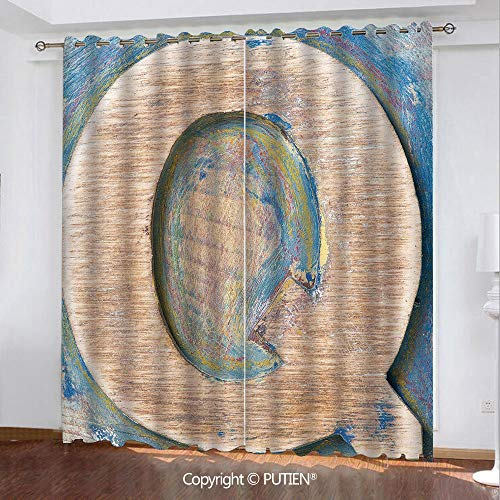Satin Grommet Window Curtains Drapes [ Letter Q,Worn Look Soft Colored Writing Natural Vintage Background Design Uppercase Decorative,Pale Brown Blue ] Window Curtain for Living Room Bedroom Dorm Room