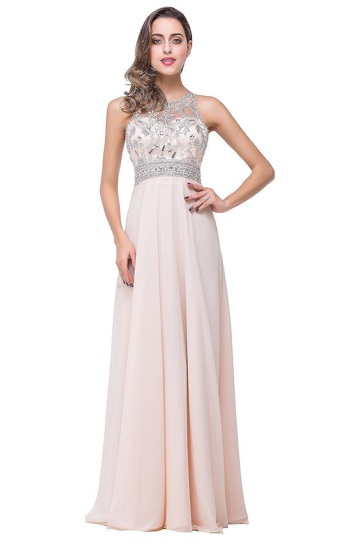Babyonline® Damen Lang Masche Chiffon Mit Perlen Brautjunferkleider Abendkleid Ballkleider