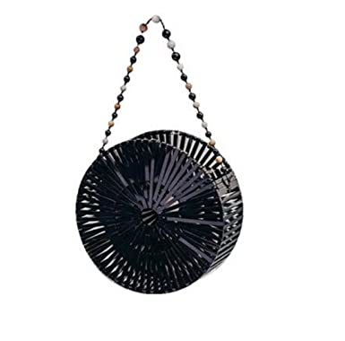 Women Craft Bamboo Basket Bag Circle Beach Bag Round Woven Rattan Handbags