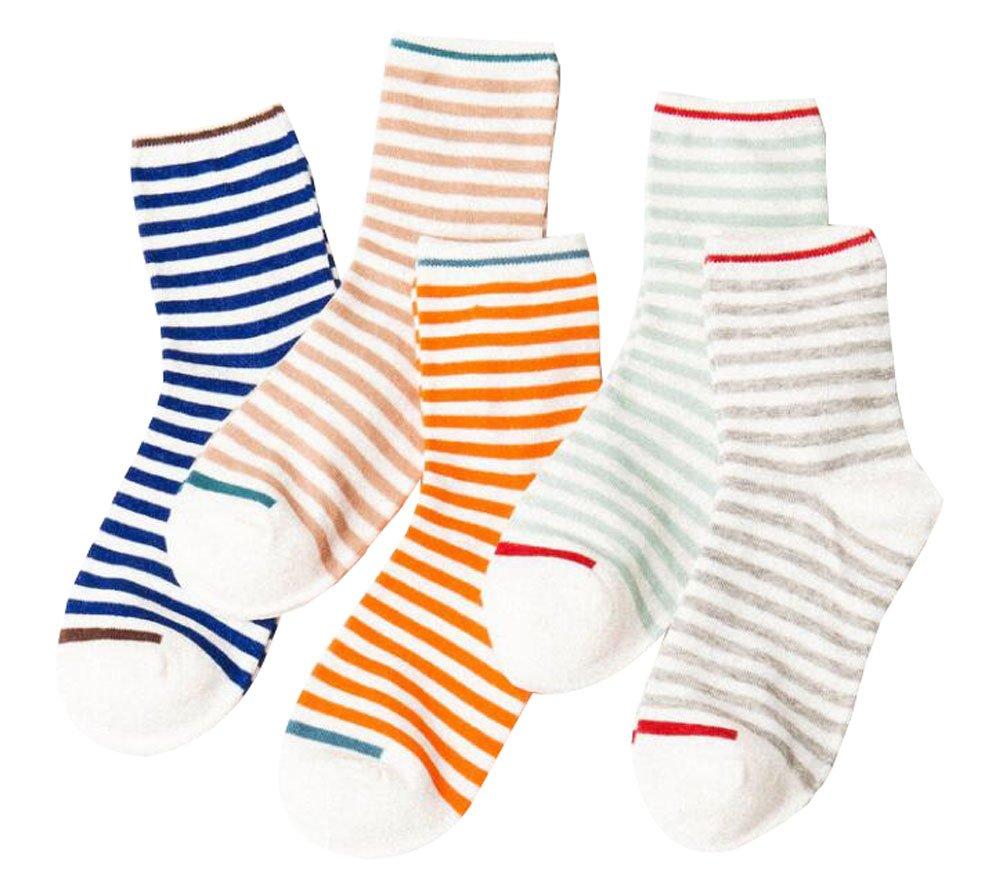 5 Paar Packung Weiche Frauen Socken - Buntes Gestreiftes Muster Black Temptation