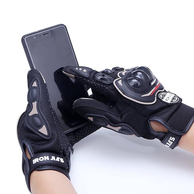 Guantes de motos motocicleta para carreras todo terreno, guantes de moto para pantallas táctiles resistentes a caídas (L, Black): Amazon.es: Coche y moto