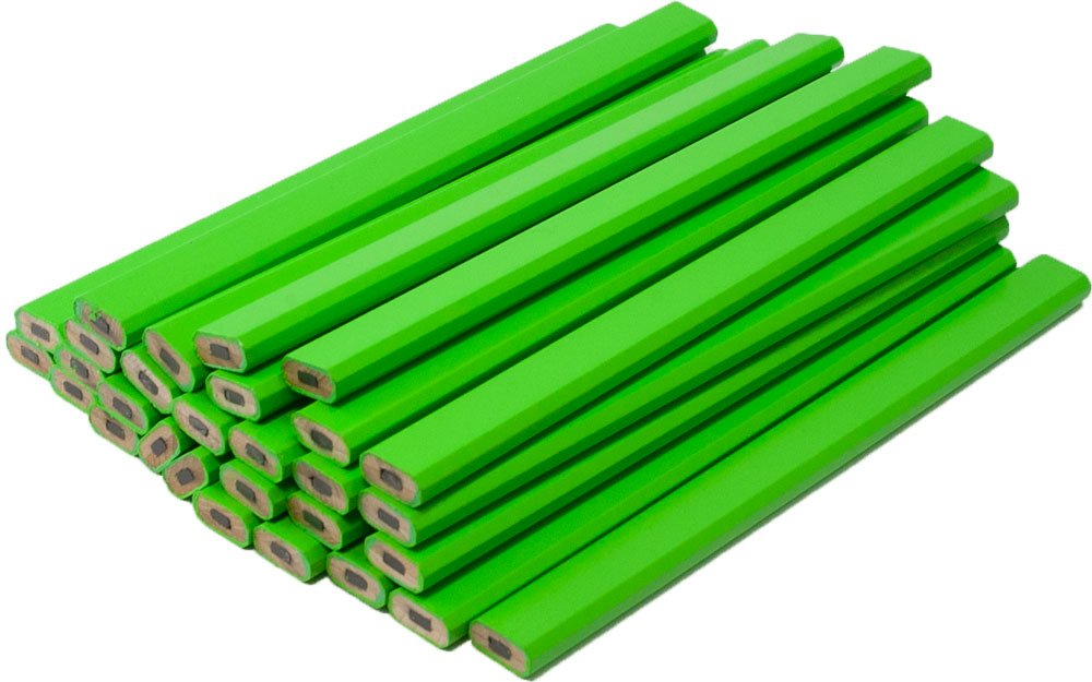 Neon Green Carpenter Pencils - 72 Count Bulk Box