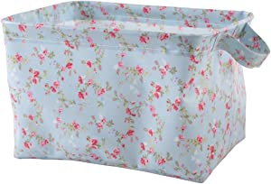 NEOVIVA Collapsible Storage Bins for Home Organization, Waterproof Storage Bin Set of 2 for Kitchen, Bathroom, Laundry, Closets and Shelf, Floral Blue Ocean