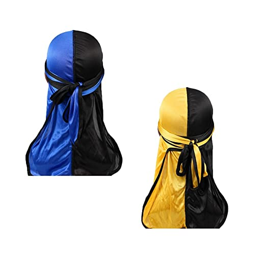 New Fashion Fashion Mens Silky Durags Turban Bandanas Printed Flower Men Durag Wave Caps Headwear Doo Rag Hair Accessories Headwrap Du Rag 2019 New Fashion Style Online Men's Headbands Men's Accessories