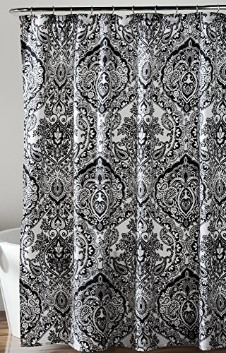 black white damask shower curtain - 1