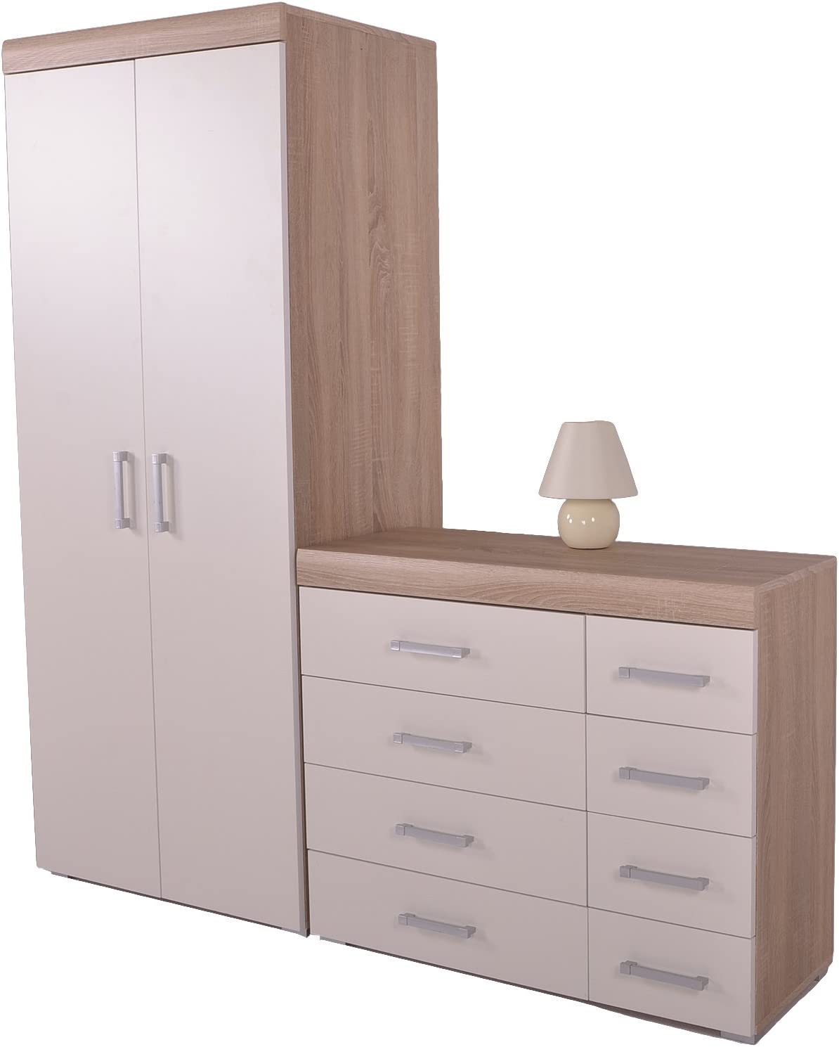 DP White /& Oak 4+4 Drawer Chest /& 2 Drawer Bedside Cabinet Bedroom Furniture 8