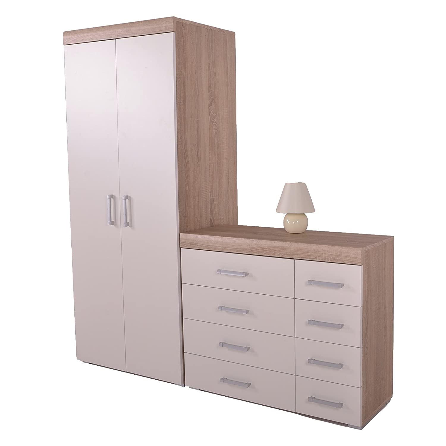 DP 4+4 Drawer Chest Drawers & 2 Door Wardrobe White & Oak Effect Bedroom Set