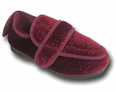 90b8a87efd895 Chaussons orthopédiques pour diabétique - larges Velcro mémoire forme -  femme - Bordeaux - EUR 37  Amazon.fr  Chaussures et Sacs