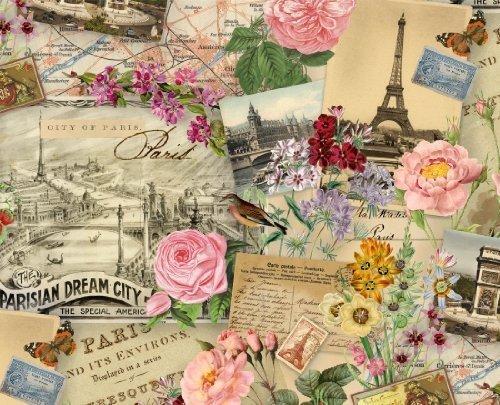 (Fat Quarter Spring In Paris Cream Cotton Quilting Fabric 50cm x 55cm)