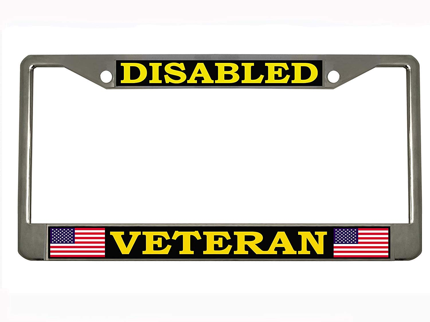 Disabled Veteran Chrome License Plate Frame Tag STHANCAT OF TAMPA