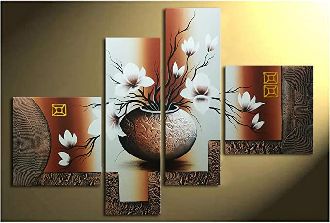 Wieco Art 4 Piece Elegant Flowers Stretched And Framed Hand Painted Modern Canvas Wall Art Paintings