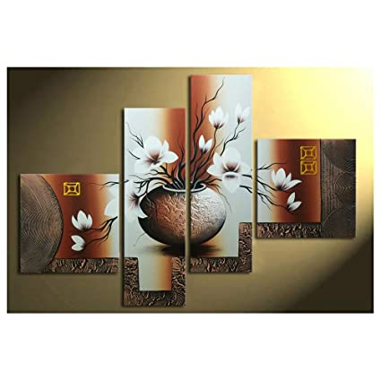 Wieco Art 4 Piece Elegant Flowers Stretched And Framed Hand Painted Modern Canvas Wall Art