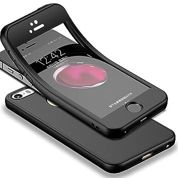 Für iPhone SE Hülle + Panzerglas, HICASER 360 Grad Komplettschutz Vorder und Rückseiten Schutz Schale Ganzkörper-Koffer Soft