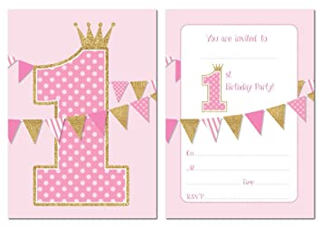first birthday party invitations pink with gold glitter effect