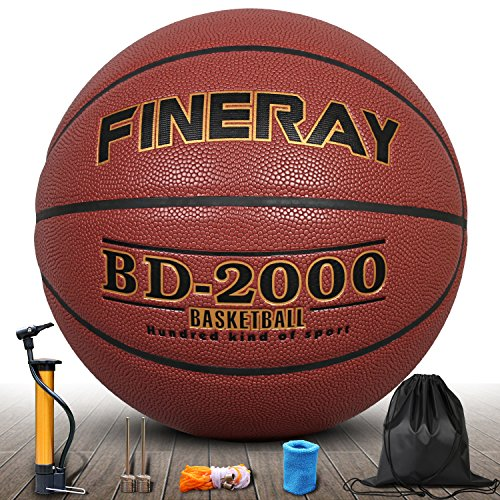 Daping Basketball Outdoor Indoor Official Size 7, Street Basketballs 29.5 Composite Game Ball with Pump, Needles, Net, Wrist and Carrying Bag (Red-Golden)
