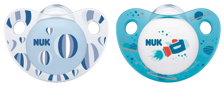 Chupete de silicona forma adaptada a la mand/íbula, 18-36 meses, 2 unidades NUK 10177130 Night /& Day color azul