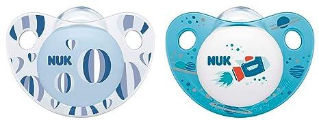 NUK 10177126 Trendline - Chupete de silicona (forma adaptada a la mandíbula, 18-36 meses, 2 unidades), color azul