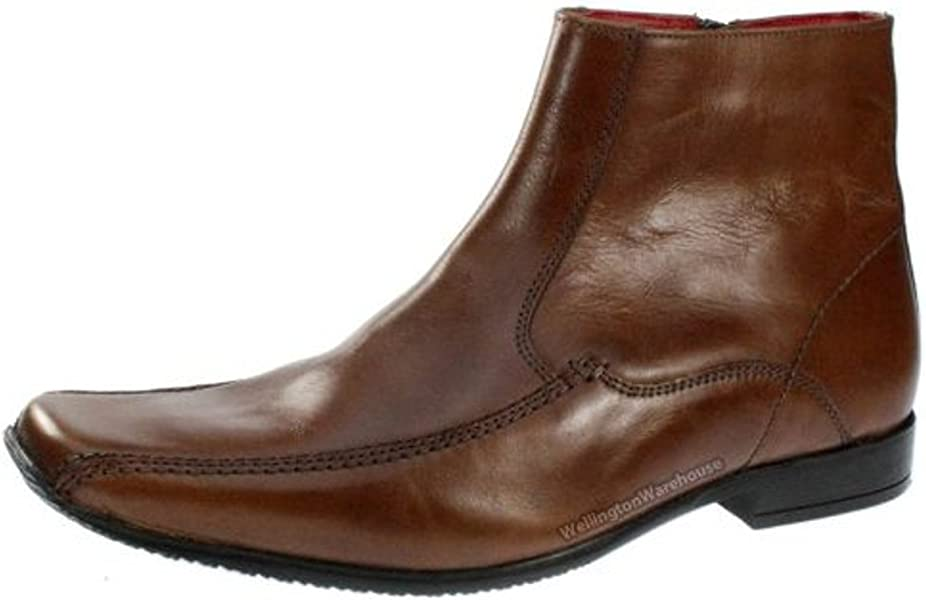 a47aa576df2 Roeburn Mens Leather Side Zip Square Toe Boots