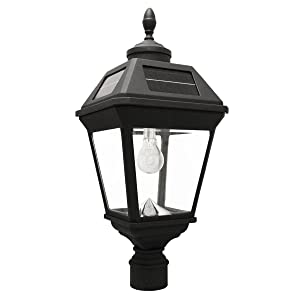 "Gama Sonic GS-97B-F Imperial Bulb Light Outdoor Solar Lamp, 3"" Post Fitter Mount (only), Warm White LED, Black"