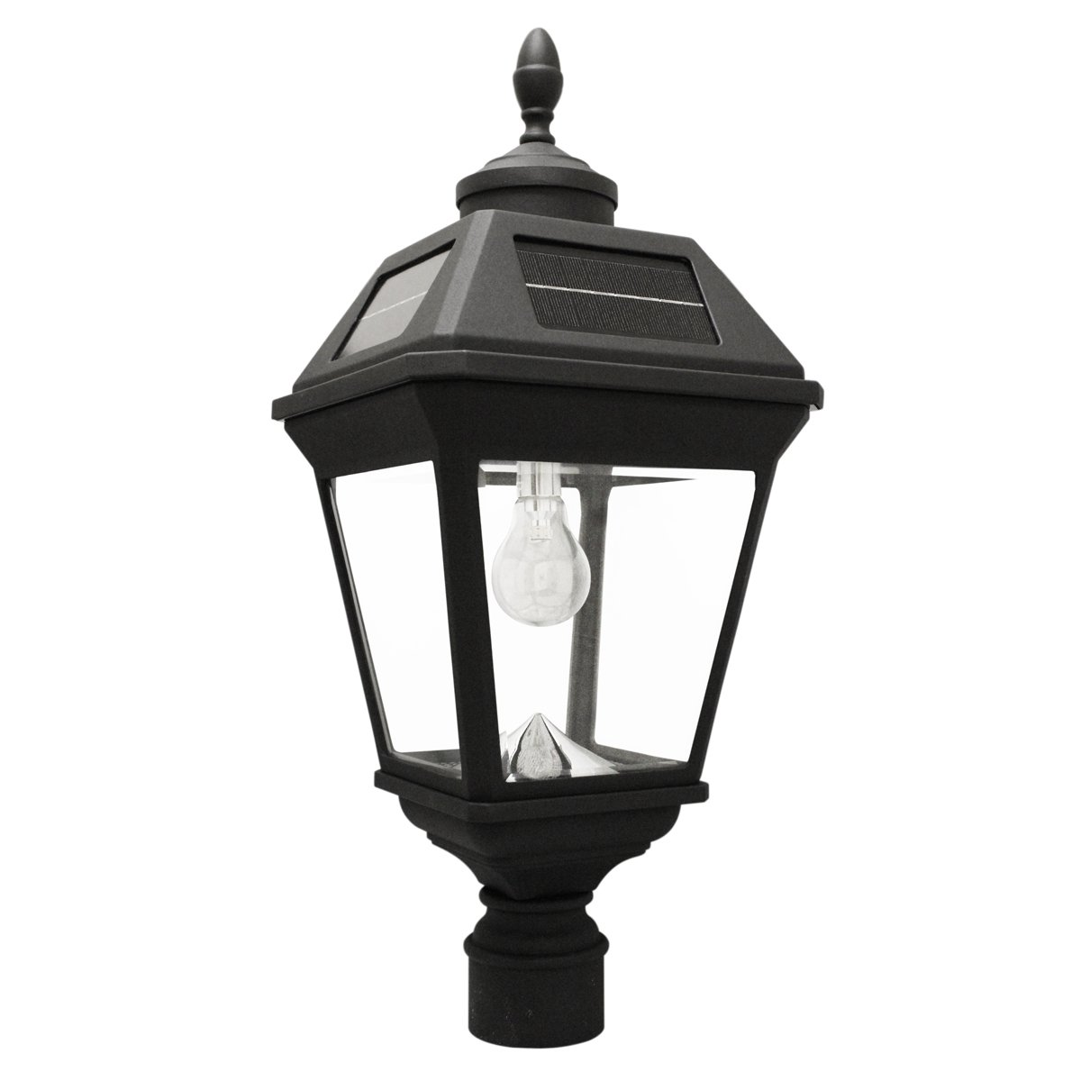 Gama Sonic Imperial Bulb Solar Lamp with GS Solar Light Bulb (3'' Fitter Mount), Black