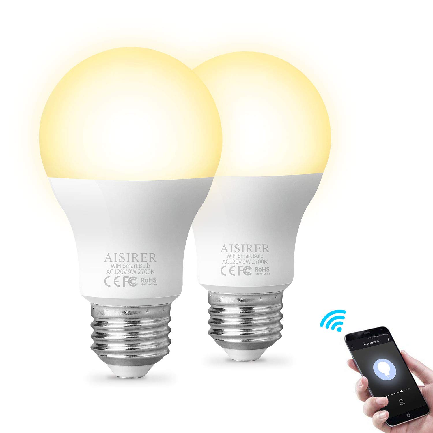 Smart Light Bulb WiFi A19 E26 LED Bulbs Compatible with Amazon Alexa Echo Google Home Assistant and IFTTT 9W Equivalent 60W Dimmable Warm Light 2700K No Hub Required 806LM AISIRER (2 Pack)