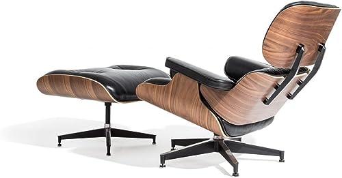 Mid Century Modern Classic Plywood Design Replica Style Walnut Wood Lounge Chair Ottoman