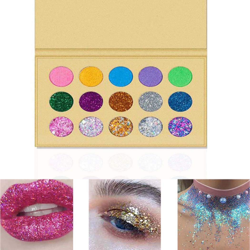 Kisshine Eyeshadow Palettes 15 Color Eyeshadow Makeup Palette Diamond Shimmer Matte Metallic High Pigmented Neutral Bold Waterproof Eyes Shadow Blendable Make Up Pallet For Women and Girls