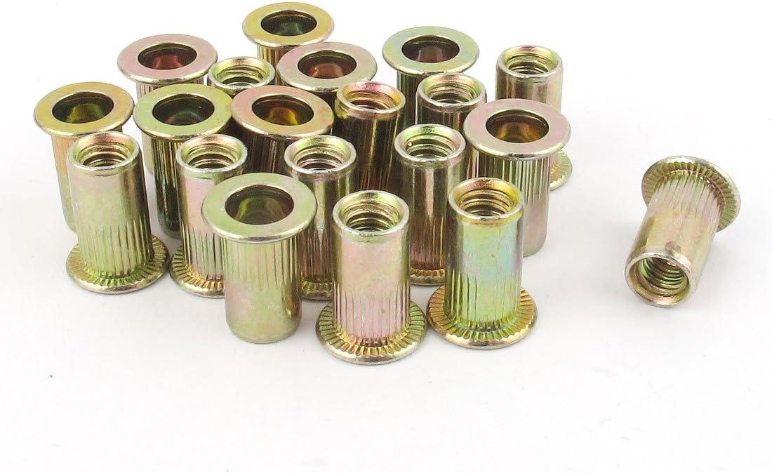 uxcell/® 10#-24 Carbon Steel Rivet Nuts Flat Head Insert Nutsert 20 Pcs