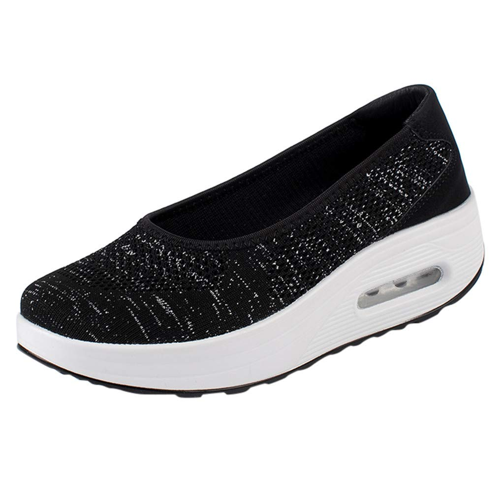 Haalife◕‿Womens Platform Walking Shoes Casual Slip on Comfortable Loafers Mesh Nurse Shoes Black by HAALIFE Shoes