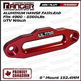"""Ranger UTV Side by Side Aluminum Hawse Fairlead For 4000-5500 LBs UTV Winch 6"""" (152.4MM) Mount by Ultranger Glossy (Red)"""