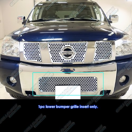 (APS for 04-07 Nissan Armada/04-2015 Titan Stainless Steel Punch Sheet Grille Grill #N19-O31454N)