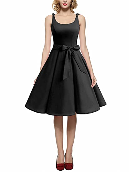 MERRYA Women 1950 s Bowknot Vintage Rockabilly Summer Cocktail Swing Dress  at Amazon Women s Clothing store  740c8a1bb