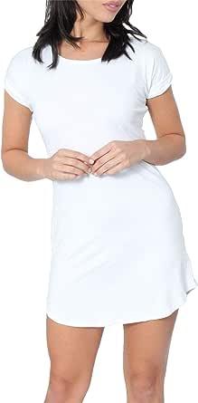 Vestido Ajustado para Mujer - Dobladillo Curvo - Manga Corta con Vuelta - Estilo Camiseta - Colores Lisos