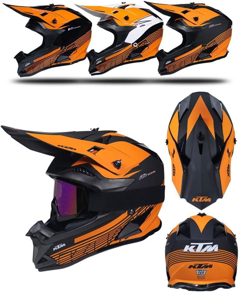 Casco Enduro MTB Integral Adulto Hombre Mujer Protecciones Moto Cross para MX Quad Motocicleta Descenso Enduro Pro Casco de Motocross Negro y Naranja Forro Extra/íble//Certificaci/ón Dot