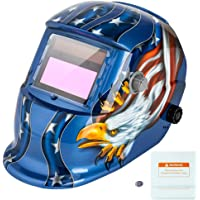 Z ZTDM Welding Helmet Mask Solar Auto Darkening,Adjustable Shade Range DIN 9-13/Rest DIN 4,Welder Protective Gear ARC MIG TIG,2pcs Extra Lens+CR2032 Battery (Blue Eagle)