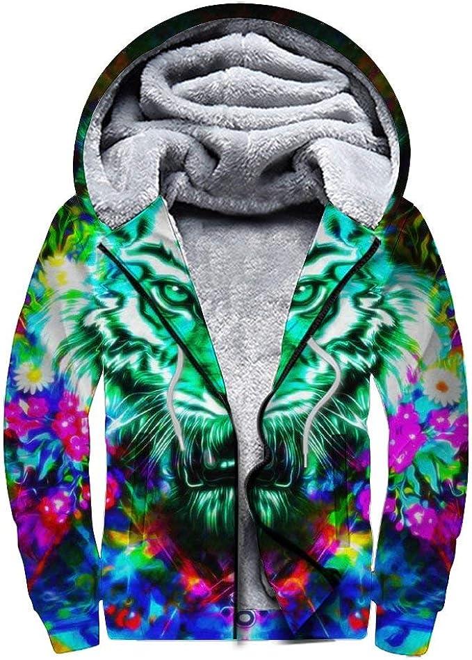 Long Sleeve Hoodie Print Cats Eyes On Fire Jacket Zipper Coat Fashion Mens Sweatshirt Full-Zip S-3xl
